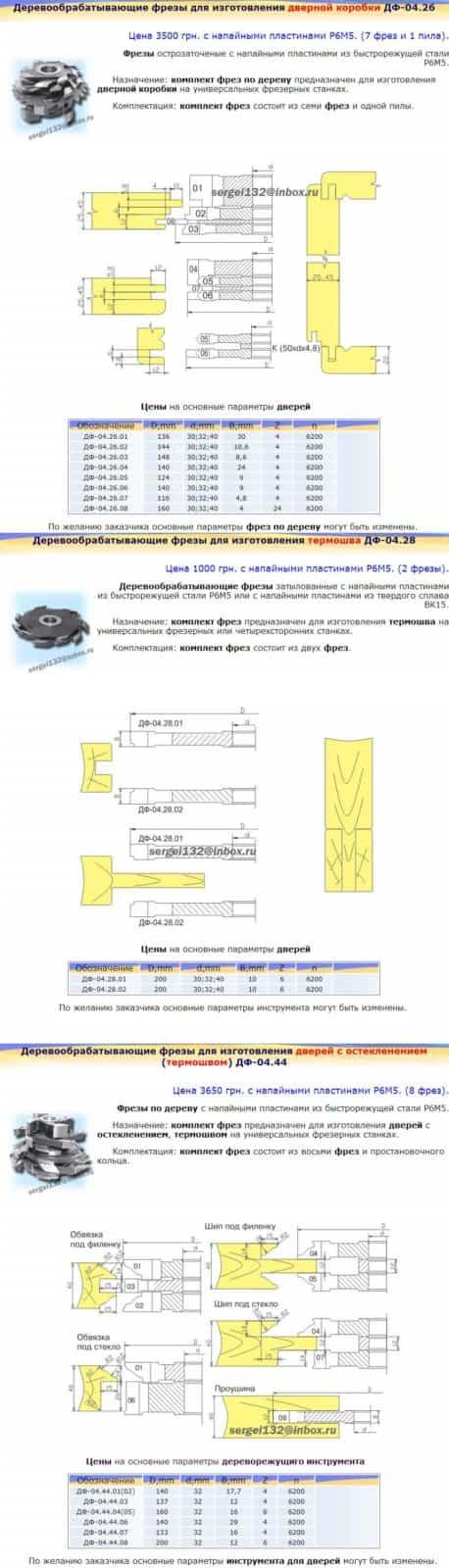 Фрезы для изготовления дверей-6