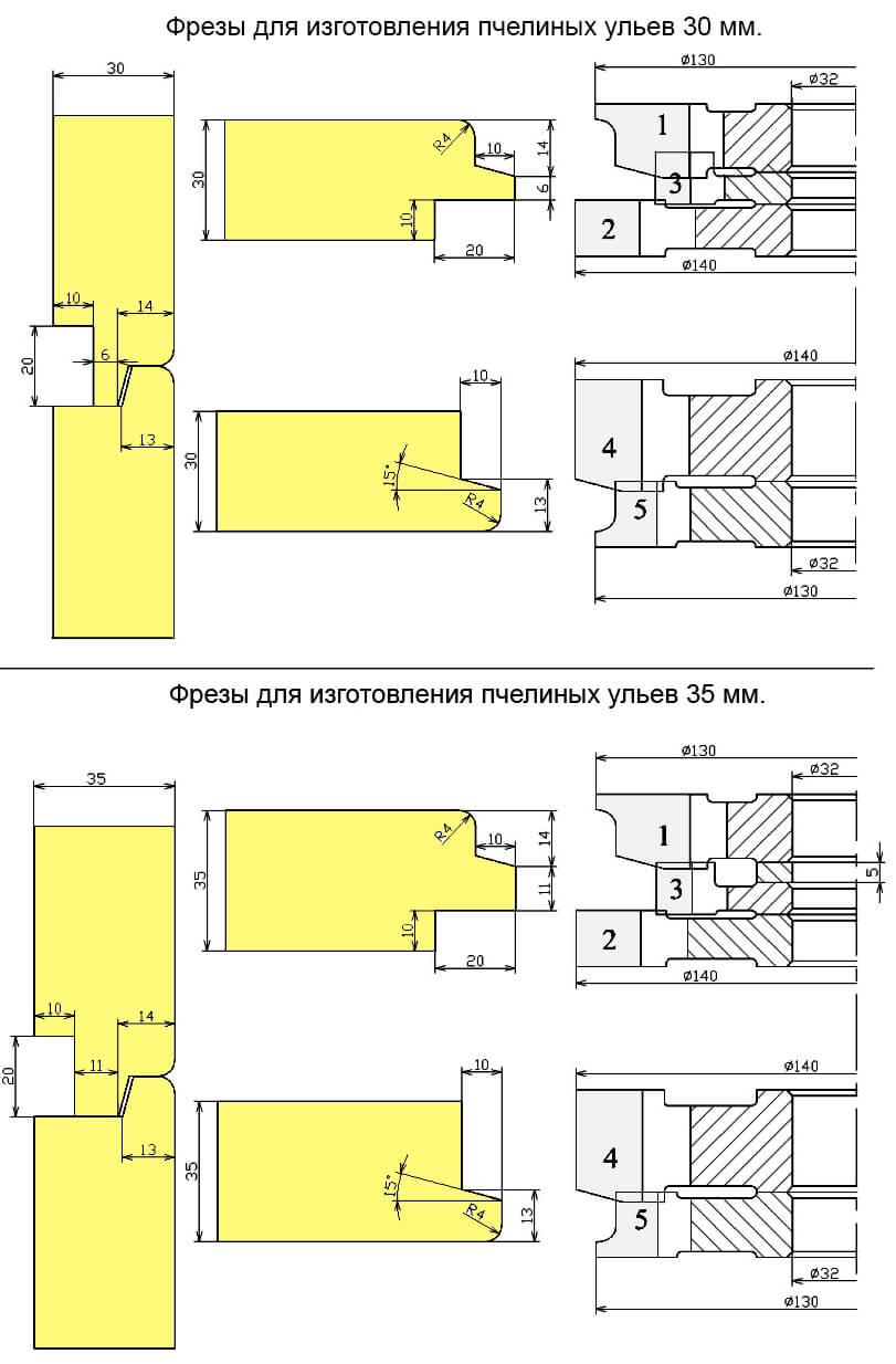 Фрезы для изготовления ульев 30 и 35 мм.