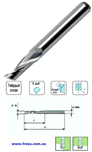 Фреза спиральная плоский торец  D6-d6-L46-h20-z1