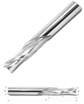 Спиральная фреза для чпу плоский торец 2 зуба (стружка вниз)