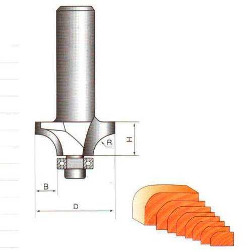 Фреза GLOBUS 1017 кромочная калевочная d8-D30-h16-R10