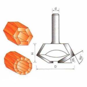 Фреза GLOBUS 2516 кромочная конусная d8-D45-h22