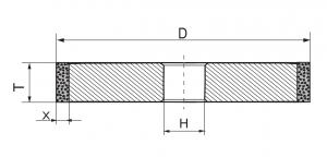 Круг шлифовальный алмазный прямой В1-13 (1А1) 150x20x5х32 160/125