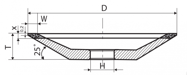 Тарелка алмазная острая В1-13 (12R4) 100x32x3х2 63/50