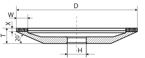 Тарелка алмазная тупая В2-01 (12А2-20) 150x32x10 50/40