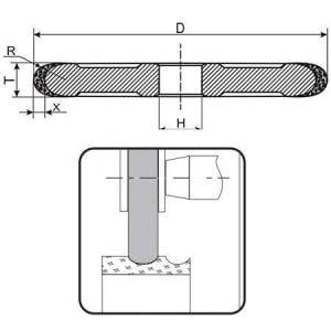 Круг алмазный шлифовальный галтель B1-13 (1FF1) D125-t8-x4-R4-d32 160/125 АС4 100%